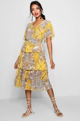 boohoo Layered Paisley Print Midi Dress