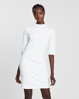 Alice + Olivia Delora Mock Neck Fitted Dress