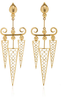 Hanut Singh 18K Yellow Gold Modern Fish Scale Dart Pendant Earrings