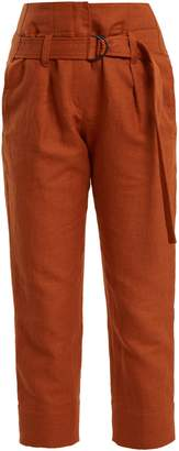 Brunello Cucinelli Paperbag-waist straight-leg cropped trousers