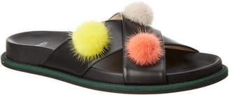 Fendi Leather Pom Pom Slide