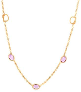 Hello Kitty 925 Sterling Silver Gold Plated with Amethyst Cubic Zirconia Necklace