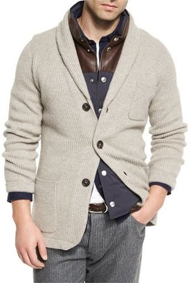 Brunello Cucinelli Ribbed Cashmere Blazer-Style Cardigan, Brown $2,996 thestylecure.com