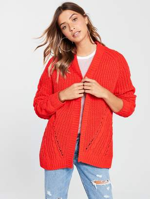 Very Matt Chenille Cable Detail Cardigan - Poppy Red
