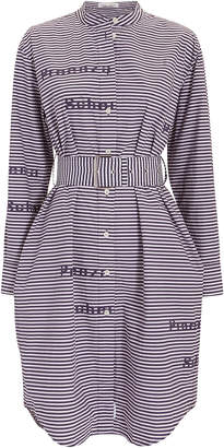 Proenza Schouler Pswl Striped Poplin Logo Shirtdress