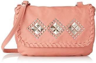 Wild Pair Washed With Studded Flap Cross Body Handbag