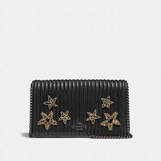 Coach Callie Foldover Chain Clutch With Quilting And Crystal Embellishment