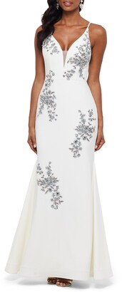 Xscape Evenings Beaded Embroidery Evening Dress