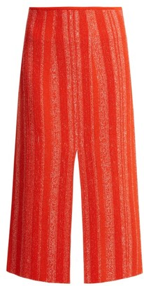 Proenza Schouler Textured Knit Midi Skirt - Womens - Red White
