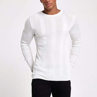 River Island White rib muscle fit long sleeve sweater