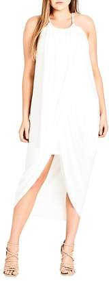 City Chic 'Slinky Wrap' Maxi Dress
