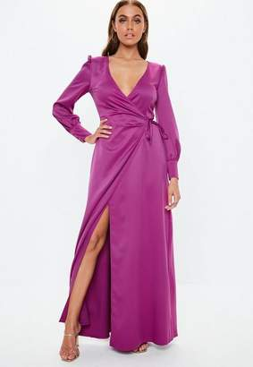 c7da0e6845 Missguided Purple Satin Tie Side Maxi Dress
