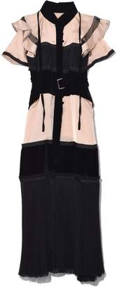 Sacai Satin Chiffon Dress in Light Pink/Black