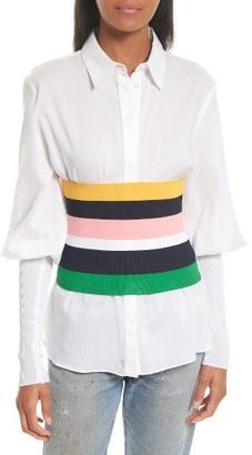 Women's Tibi Rib Knit Stripe Tube Corset $350 thestylecure.com