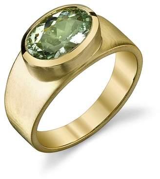 Irene Neuwirth Oval Green Beryl Ring - Yellow Gold