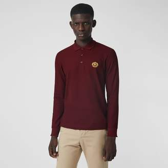 Burberry Long-sleeve Archive Logo Cotton Pique Polo Shirt , Size: M, Red