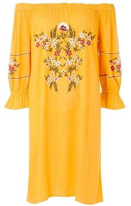 Dorothy Perkins Womens Petite Yellow Bardot Dress