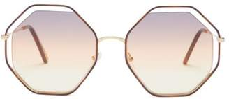 Chloé Poppy Octagon Frame Sunglasses - Womens - Orange Multi