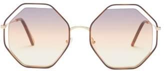 Chloé Poppy Octagon Metal Sunglasses - Womens - Orange Multi
