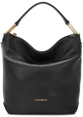Coccinelle Liya Black Grained Leather Hobo Bag