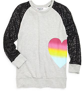Flowers by Zoe Girl's Sequin Heart Sweatshirt