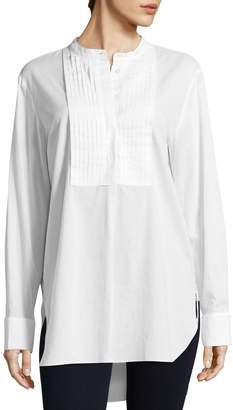 Tibi Women's Mabel Twill Pintucked Cotton Shirt