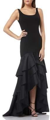 Carmen Marc Valvo Scoop-Neck Sleeveless Crepe Gown w/ Taffeta High-Low Ruffle Skirt