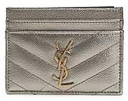 Saint Laurent Women's Monogram Matelassé Metallic Leather Card Case