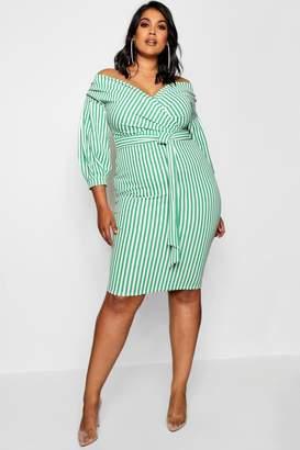 boohoo Plus Stripe Off Shoulder Wrap Midi Dress
