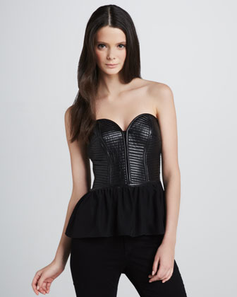 Parker Marilyn Leather Sweetheart Top