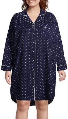 Liz Claiborne Flannel Long Sleeve Collar Neck Nightshirt-Plus