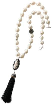 Farra - Nugget Irregular White Pearls With Rhinestone Bordered Shell Pendant Tassel Necklace