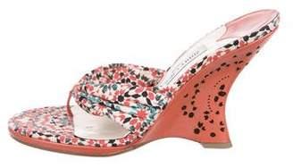 Jimmy Choo Woven Thong Wedge Sandals