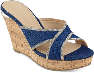 GUESS Eleonora Platform Wedge Slide Sandals $79 thestylecure.com