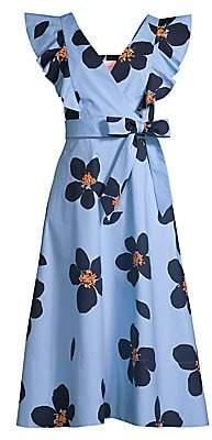 Kate Spade Women's Grand Flora Poplin Midi Dress - Size 0