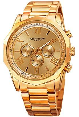 Akribos XXIV Men's Gold-Tone Multi-Function Dodecagon Bezel with Gold-Tone Dial on Gold-Tone Stainless Steel Bracelet Watch AK940YG