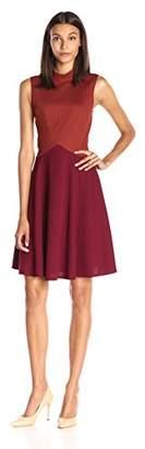Lark & Ro Women's Colorblocked Mockneck Dress