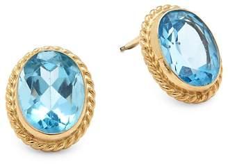 Saks Fifth Avenue Women's Blue Topaz & 14K Yellow Gold Stud Earrings