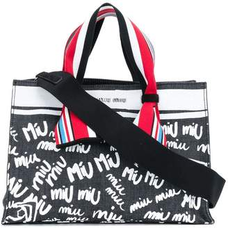 Miu Miu printed denim tote