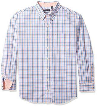 Izod Men's Size Premium Essential Tattersal Long Sleeve Shirt (Big Tall Slim)