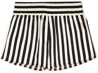 Morgan Lane - Amanda Fatherazi Corey Striped Silk-charmeuse Pajama Shorts - Black