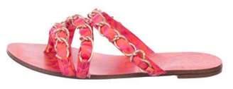 Sophia Webster Satin Chain-Link Sandals Fuchsia Satin Chain-Link Sandals