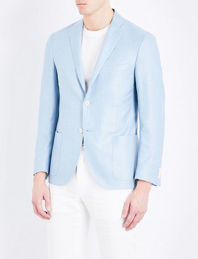 CornelianiCorneliani Academy tailored-fit notch lapel silk and wool-blend jacket