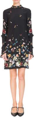 Erdem Manon Mock-Neck Ruffled Long-Sleeve Floral-Print Shift Dress