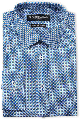Nick Graham Blue Geo Print Stretch Modern Fit Dress Shirt