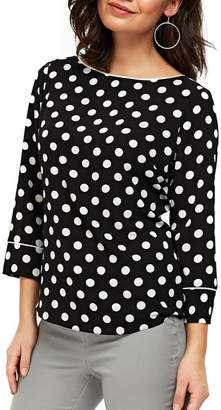 Wallis Three Quarter Sleeve Spot Top