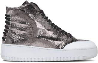 McQ Metallic Cracked-leather High-top Sneakers