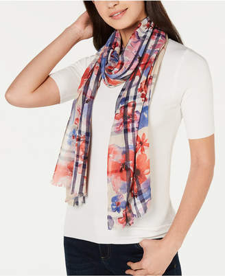 Fraas Floral-Print Plaid Scarf