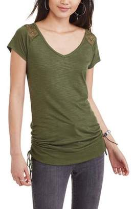 No Boundaries Vneck Top With Lace