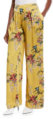 Johanna Ortiz Specialist Of The Beyond High-Waist Wide-Leg Floral-Print Silk Satin Pajama Trouser